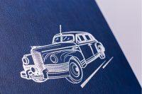 Тиснение рисунка на обложке книги о предприятии По дороге истории АМО ЗИЛ
