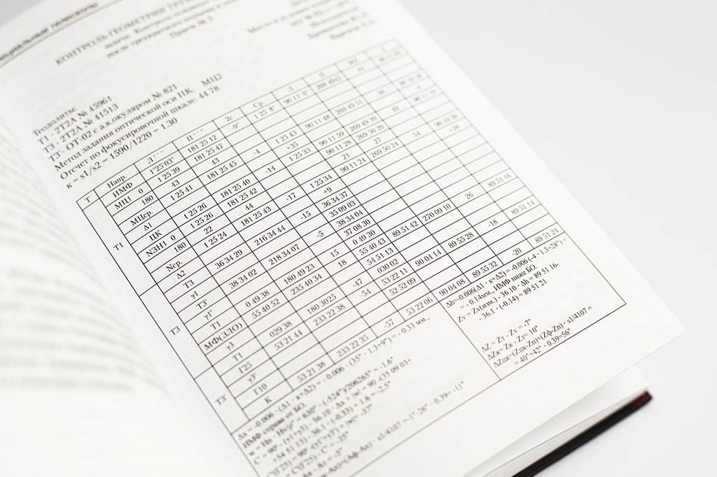 Табличная верстка технической книги Крупногабаритные зеркальные системы. Второе издание автор Ю.Л. Бронштейн