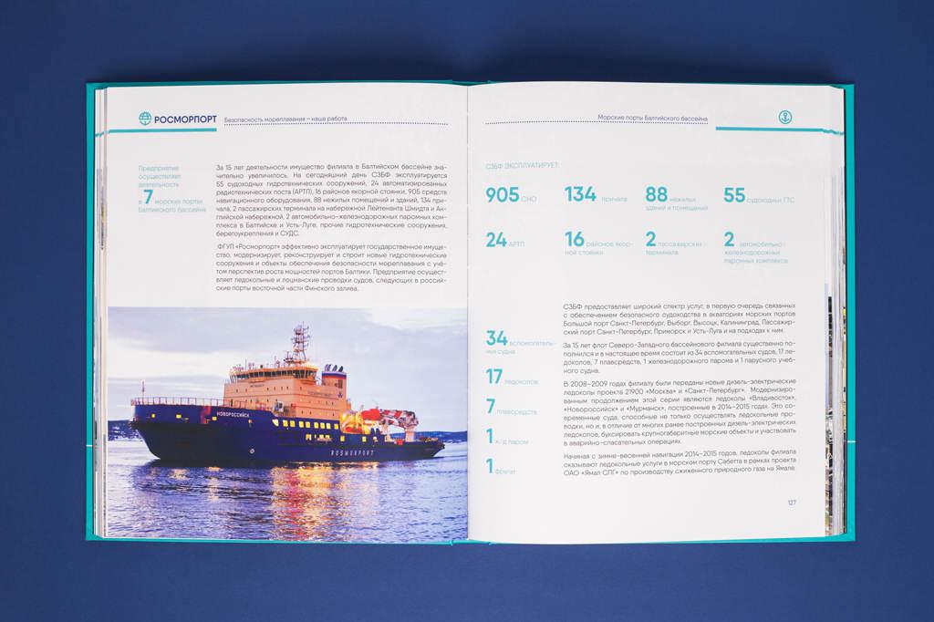 Дизайн блока юбилейной книги Росморпорт — 15 лет. Безопасность мореплавания — наша работа