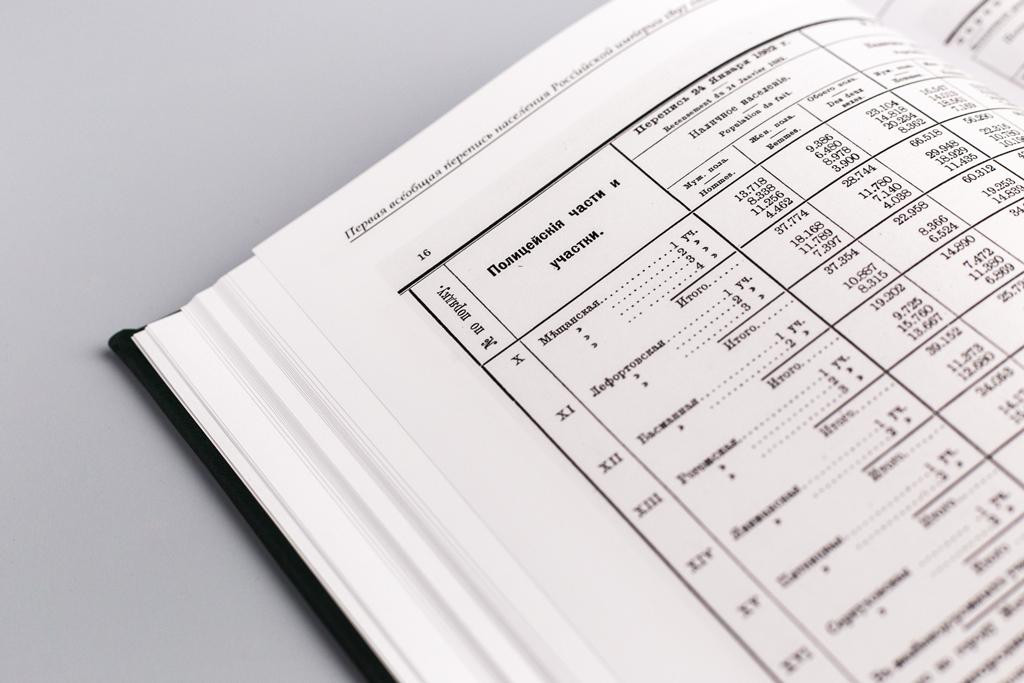 Страницы книги ручной работы Первая всеобщая перепись населения Российской Империи 1897 года