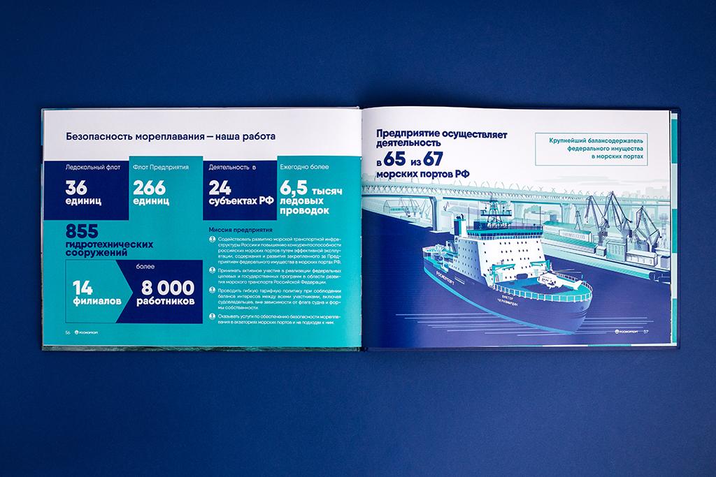 Инфографика презентационного альбома для компании Росморпорт о ледоколе Виктор Черномырдин
