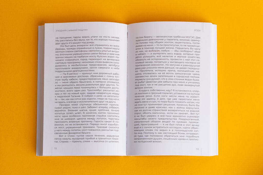 Верстка разворота авторской книги Этюдник автор Алексей Пищулин