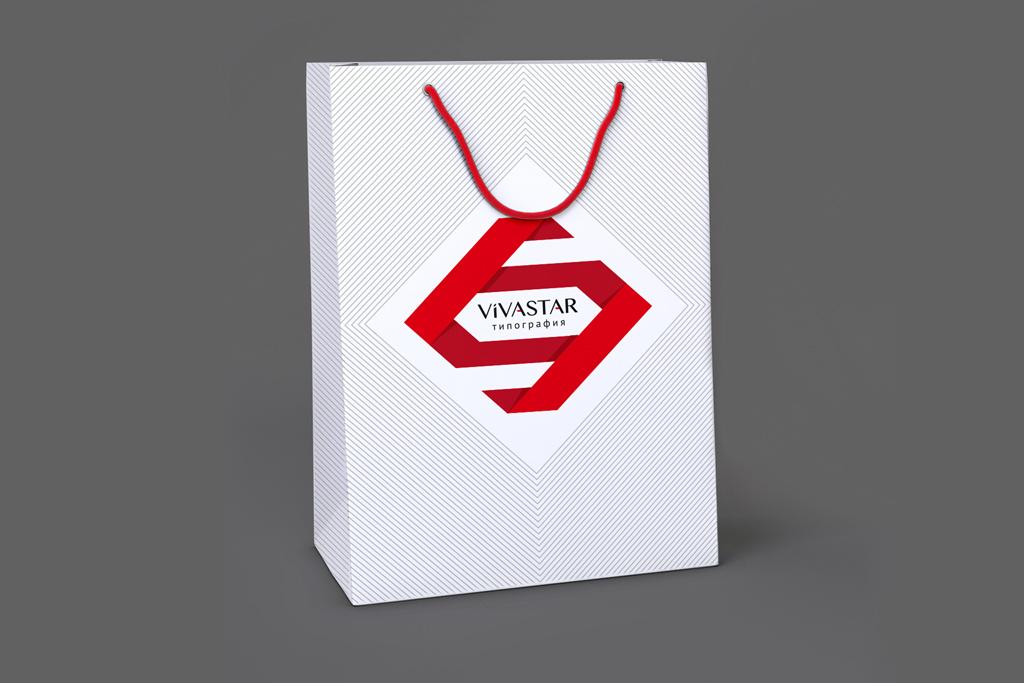 Дизайн бумажного фирменного пакета для типографии ВИВАСТАР