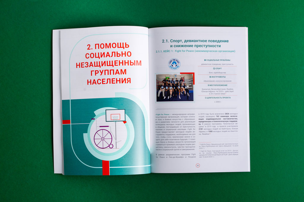 Верстка блока брошюры Спорт на Благо развития и мира для БФ Владимира Потанина