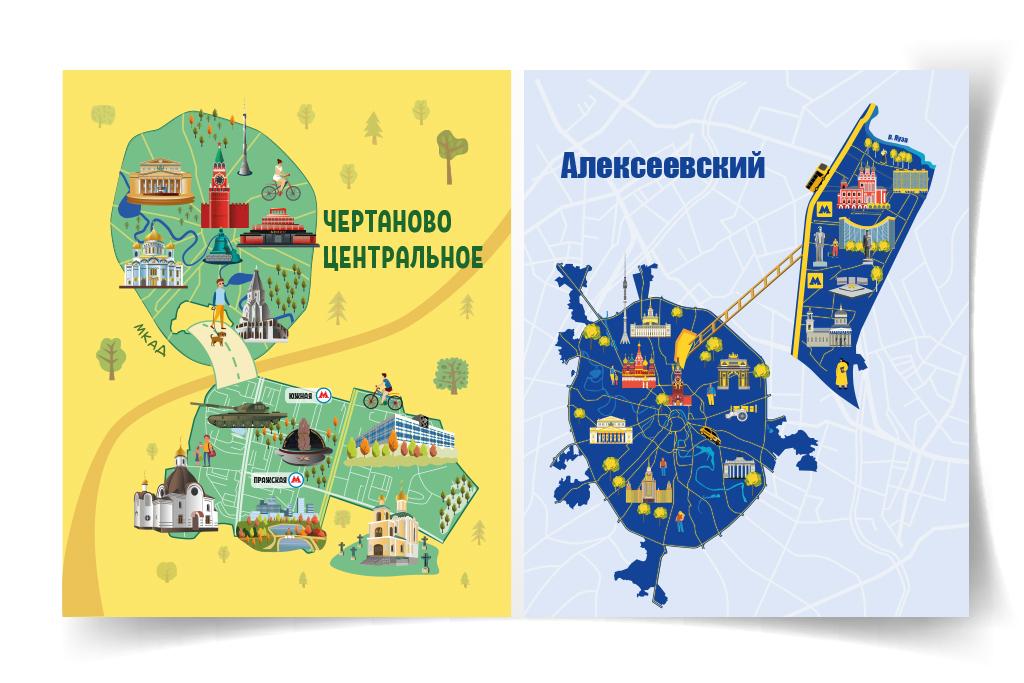 Дизайн инфографики для журналов Чертаново Центральное и Алексеевский район